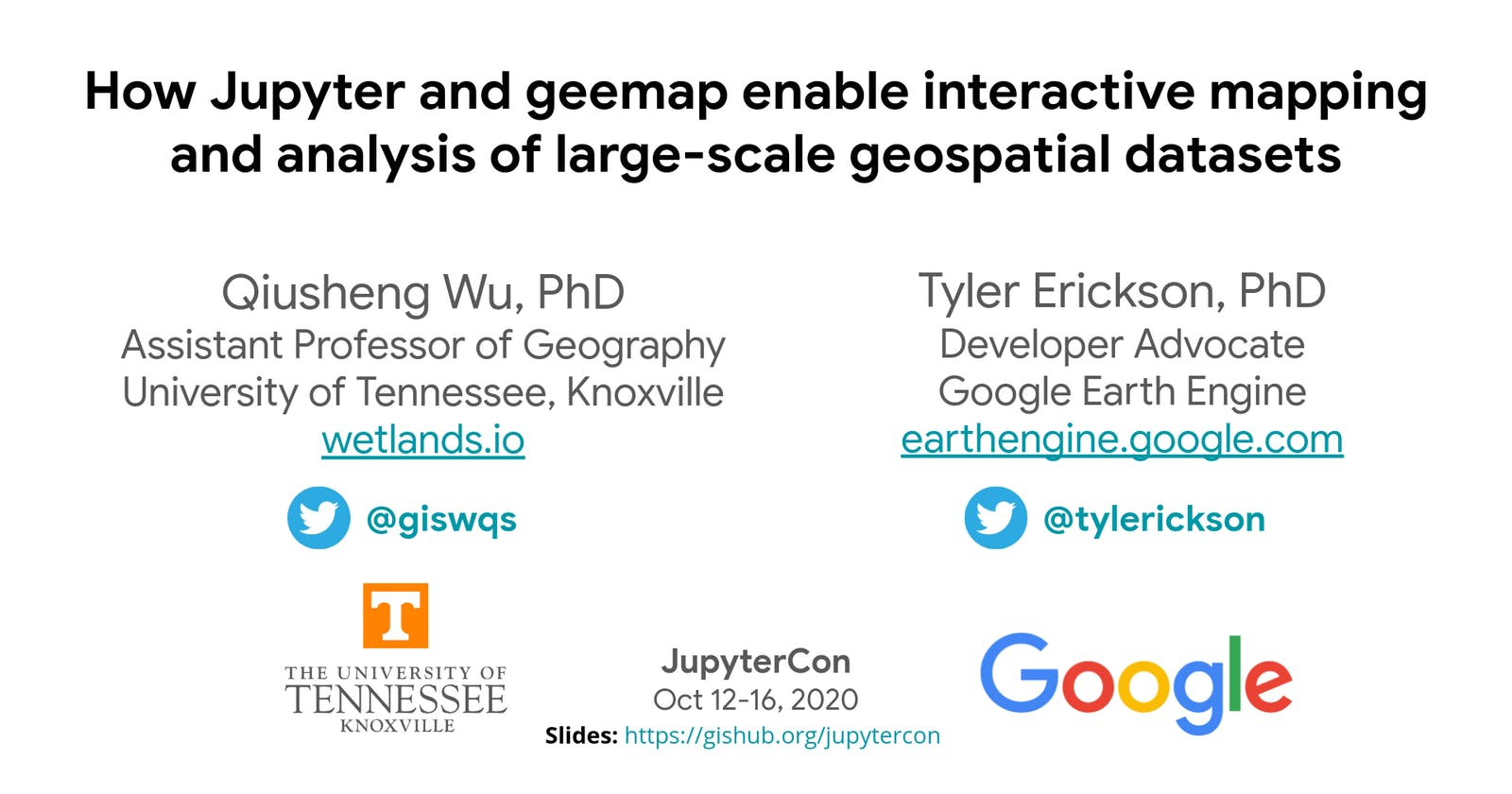 JupyterCon 2020 - How Jupyter and geemap enable interactive mapping of large-scale geospatial datasets