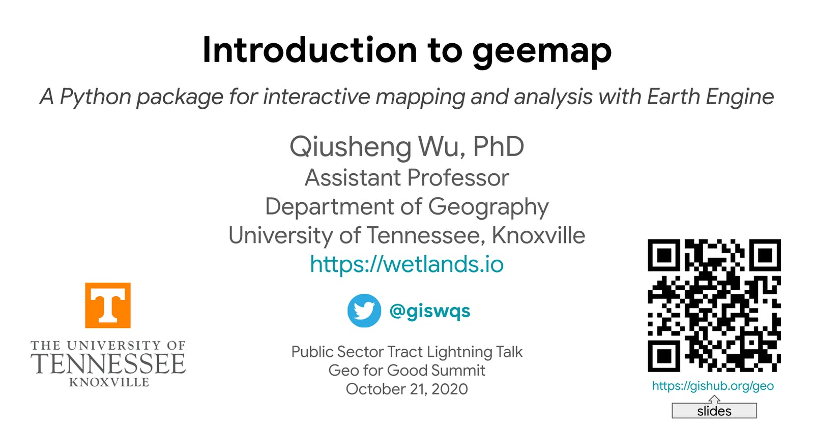 Geo for Good Summit 2020 Public Sector Meetup - Introduction to geemap