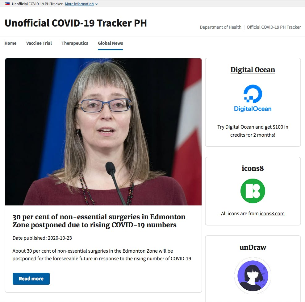 UI for the Global News Page