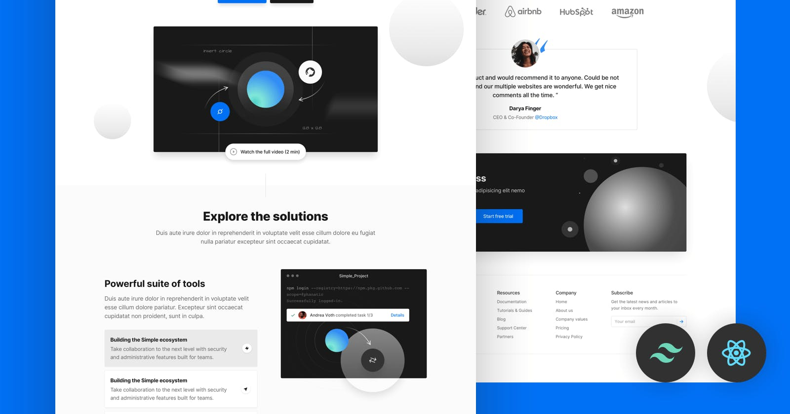 10 Tailwind CSS Templates - Open-source and free