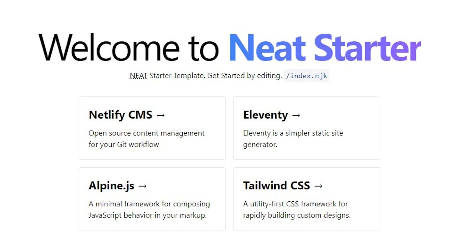 NEAT Stack: Create a Static Website with Netlify CMS, Eleventy, AlpineJS & TailwindCSS