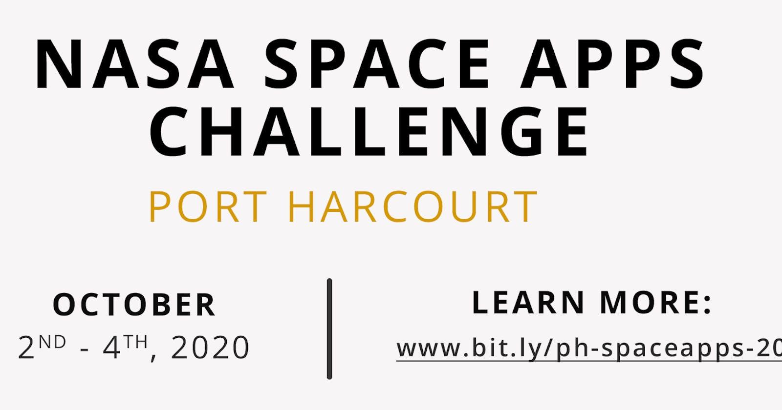 Report on NASA Space Apps Challenge Port Harcourt 2020 Hackathon -- Port Harcourt School of AI.