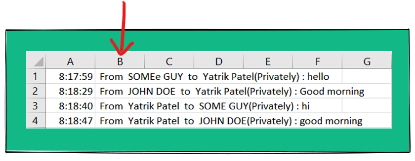 old chat in Excel