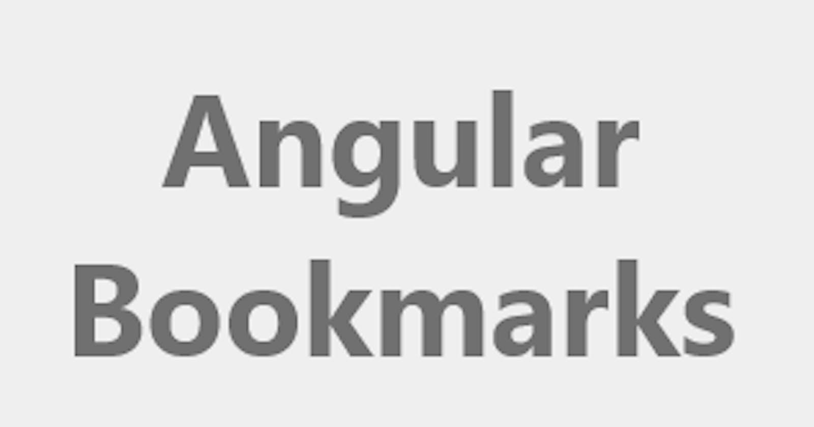 Angular training bookmarks