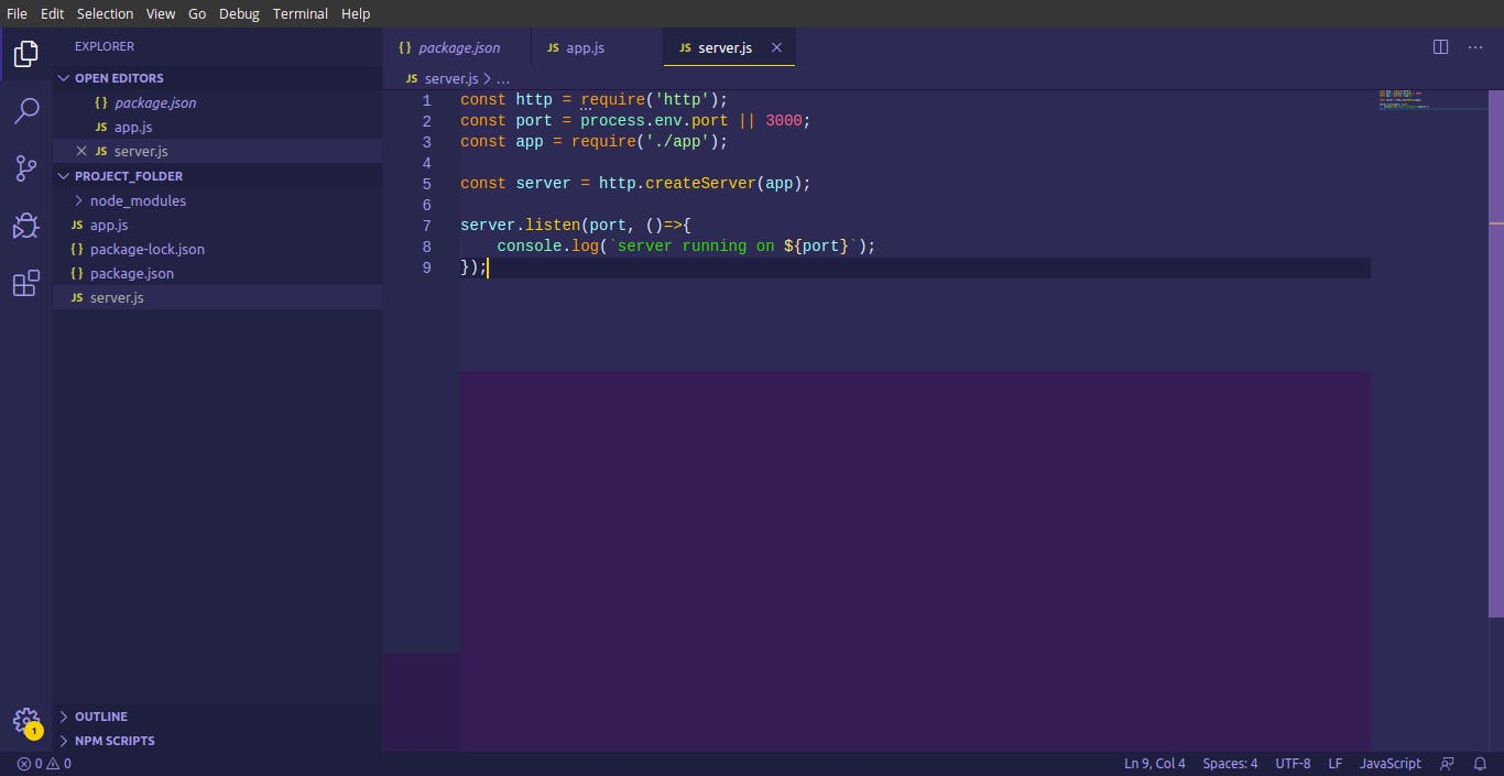 project folder server.js .png