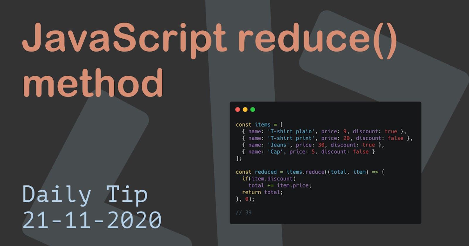 JavaScript reduce() method