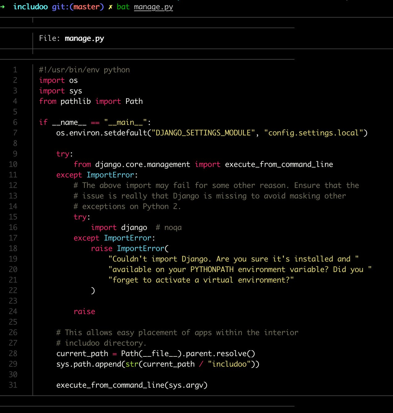 bat highlighting the syntax of Python