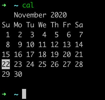 cal showing the calendar on the terminal
