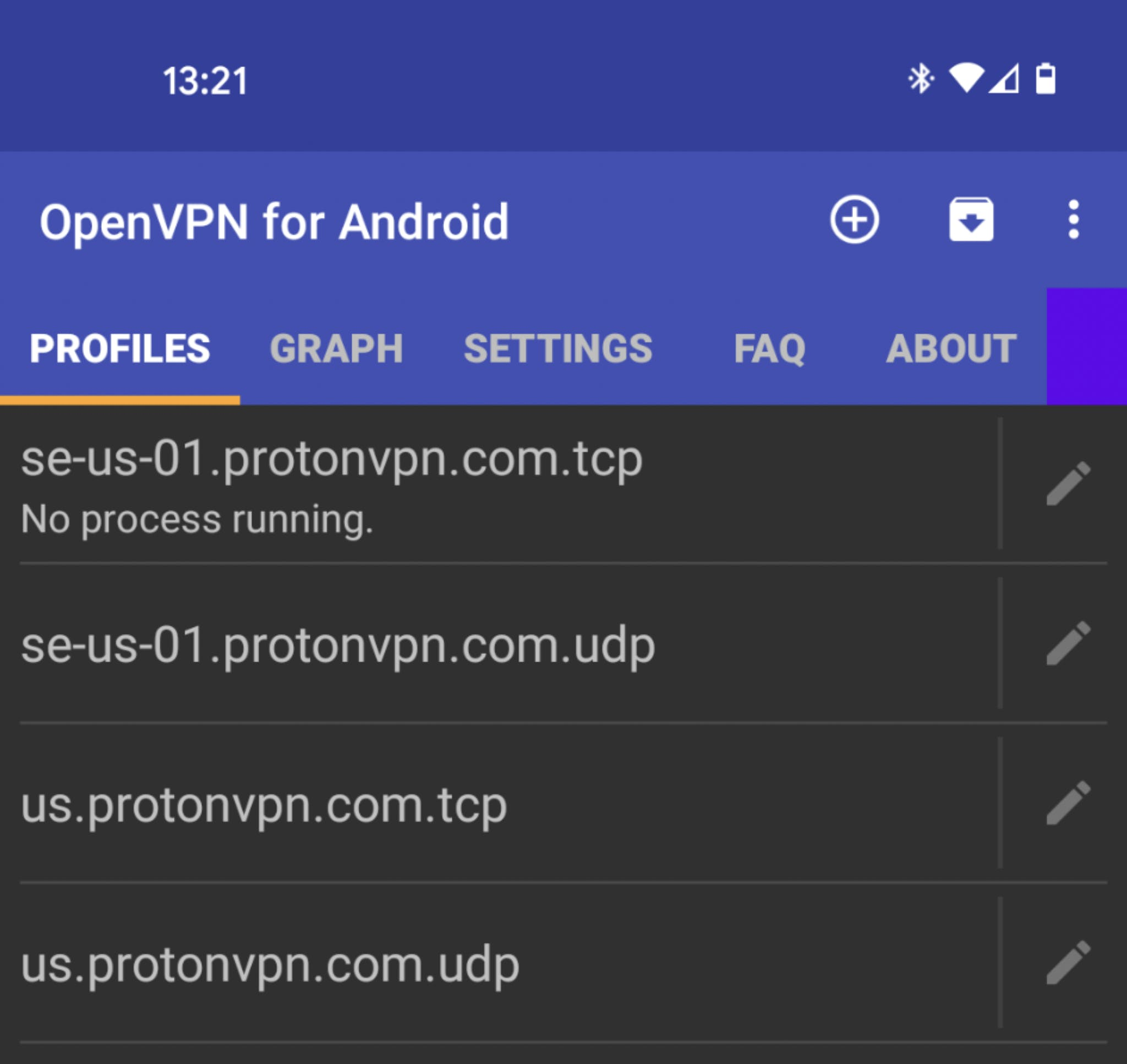 OpenVPN connection list