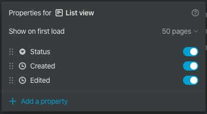 List View Properties Panel