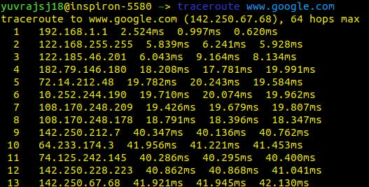 traceroute to www.google.com