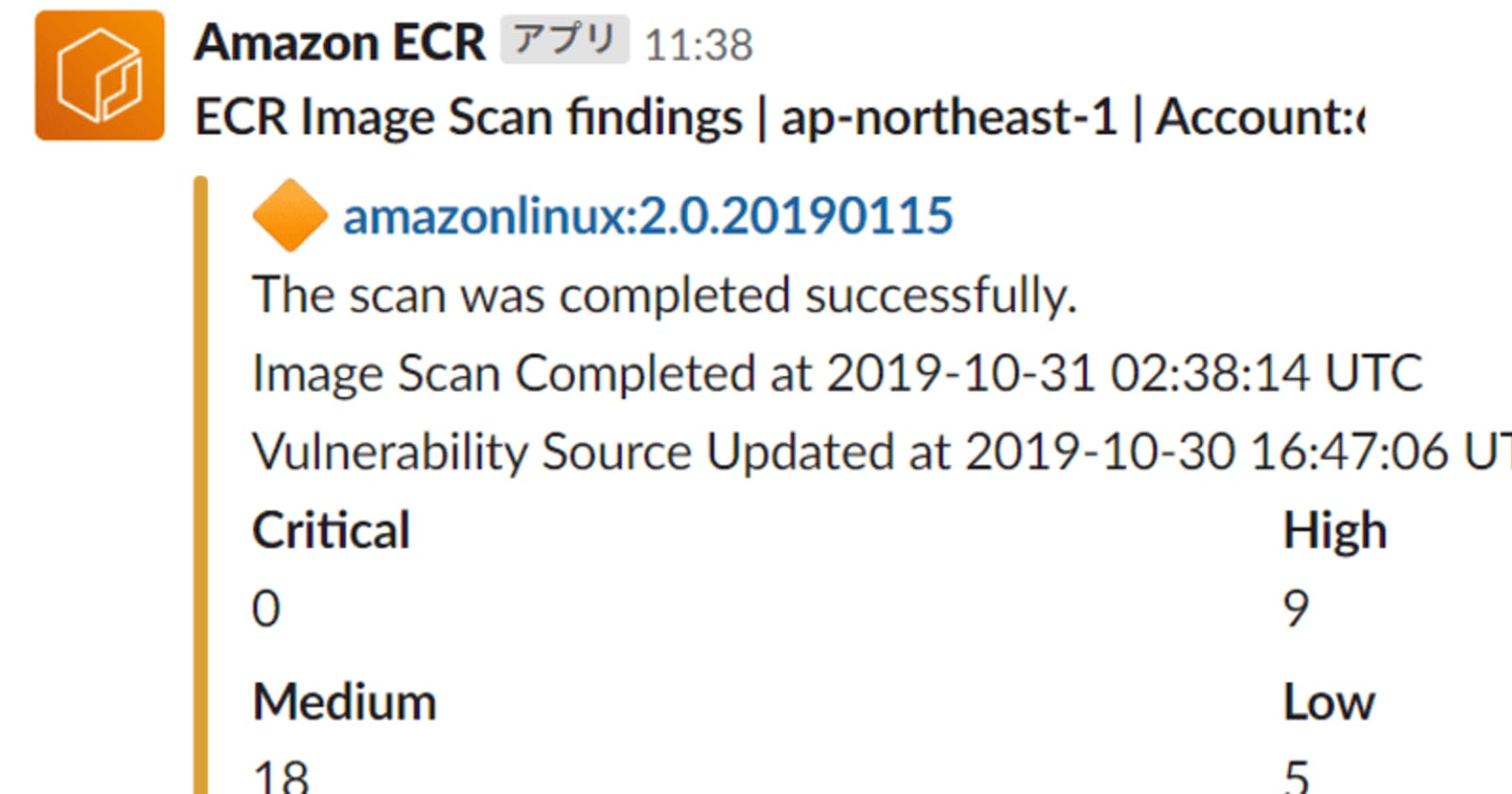 Amazon ECR Image Scan Results with Slack Notification