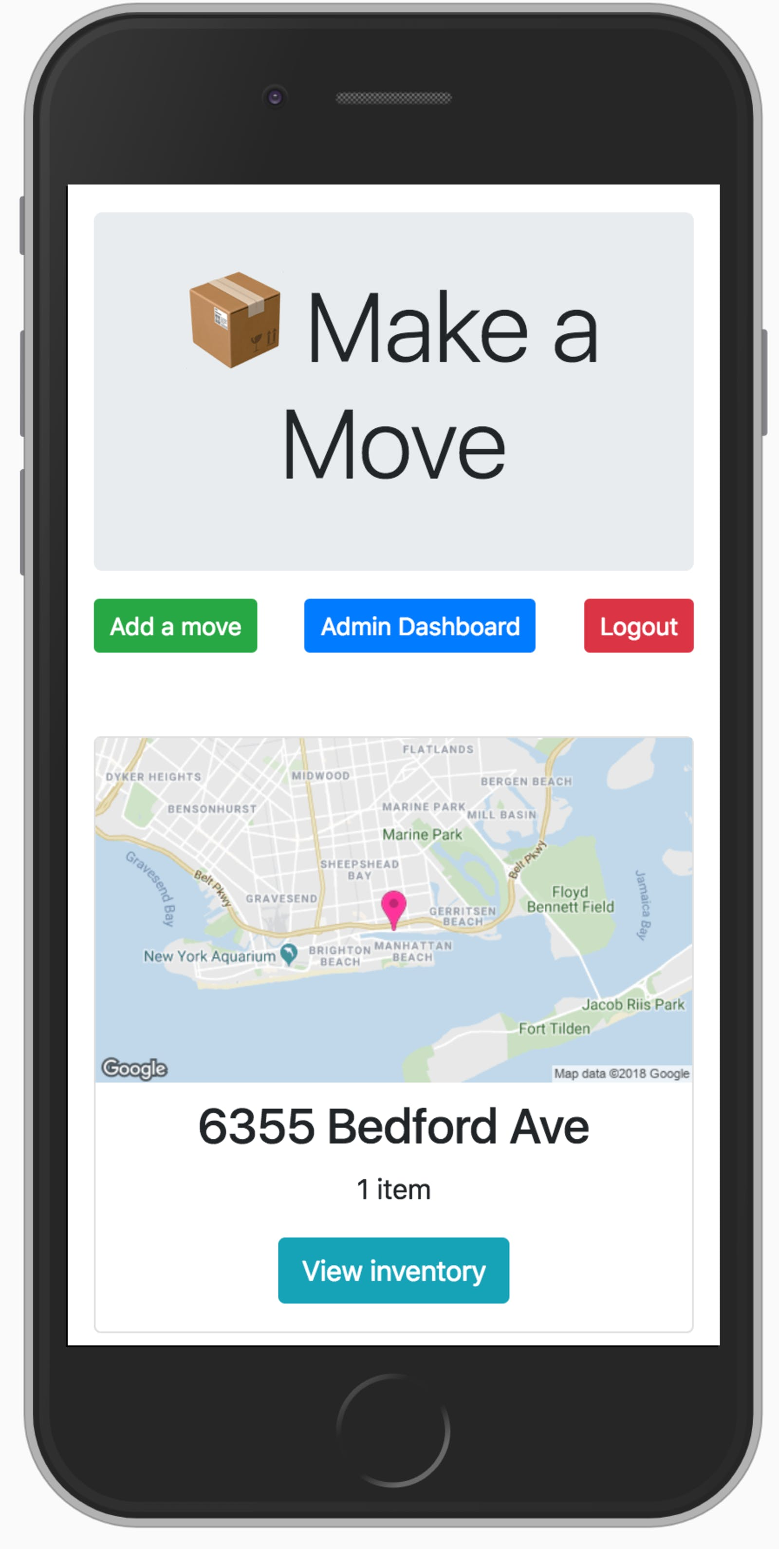 Moving inventory software shows a mobile-friendly view of all moves and their maps