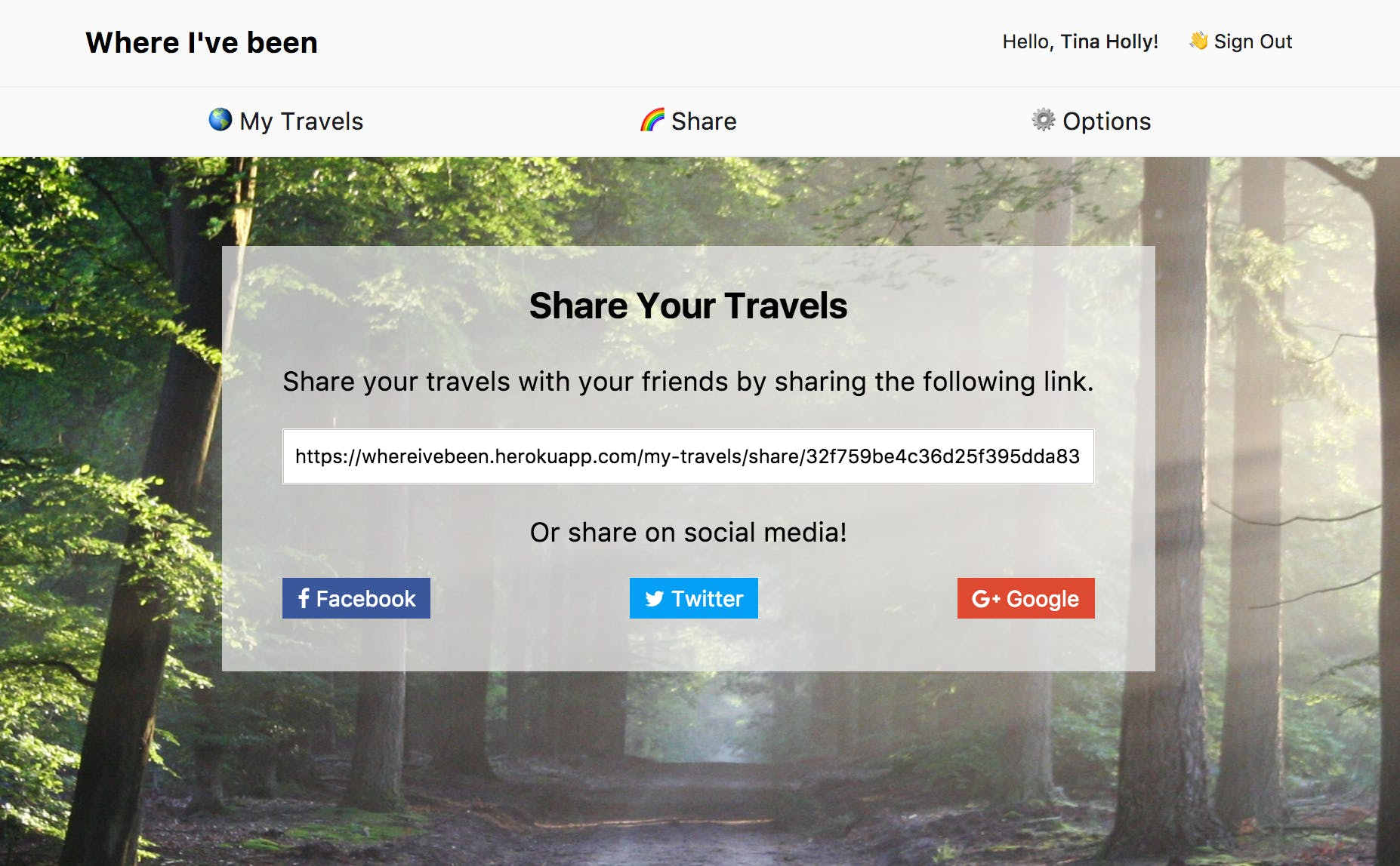 Share your map with friends using a custom URL