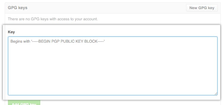 "Click ""New GPG Key"" and paste your GPG public key"