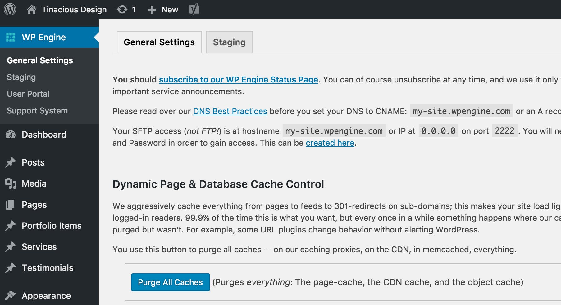 Clear cache on WP Engine using the WP Engine Purge All Caches button