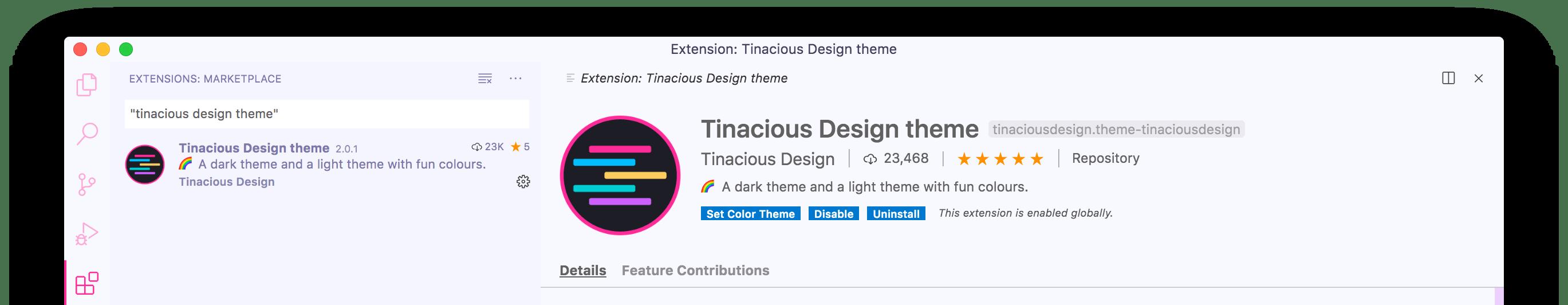 Tinacious Design Light theme