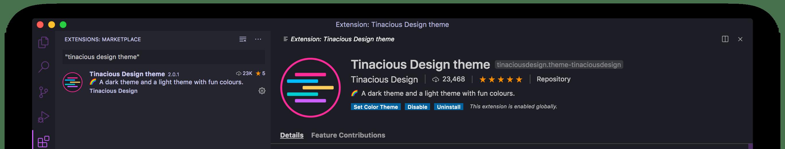 Tinacious Design Dark theme