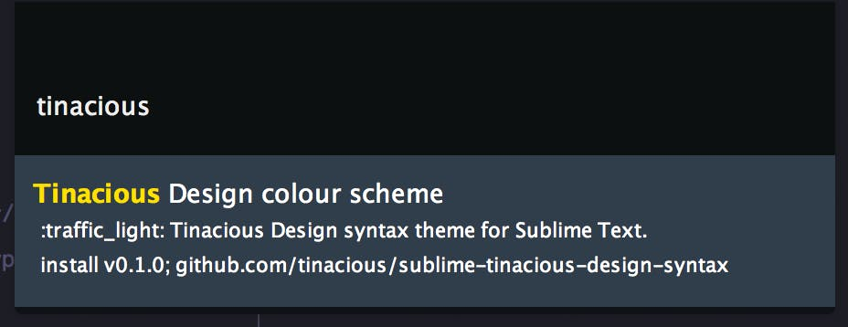 Installing Tinacious Design syntax theme in Sublime Text