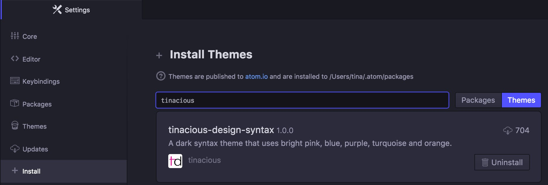 Installing Tinacious Design syntax theme from the Install tab in Atom