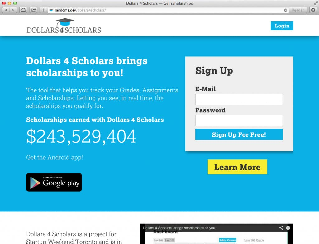 Dollars 4 Scholars Startup Weekend Toronto project home page