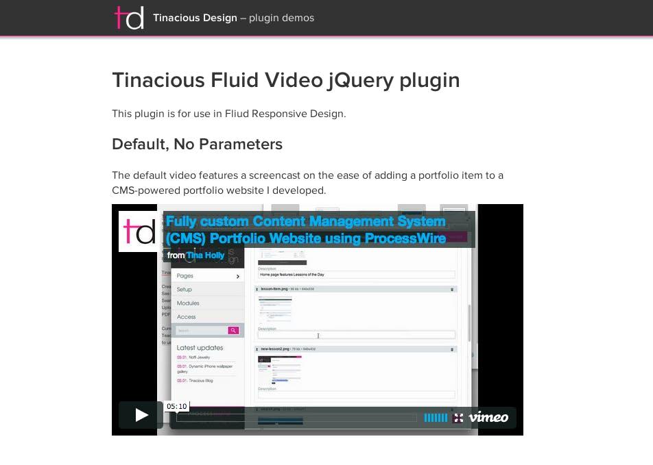 Fluid video jQuery plugin screenshot