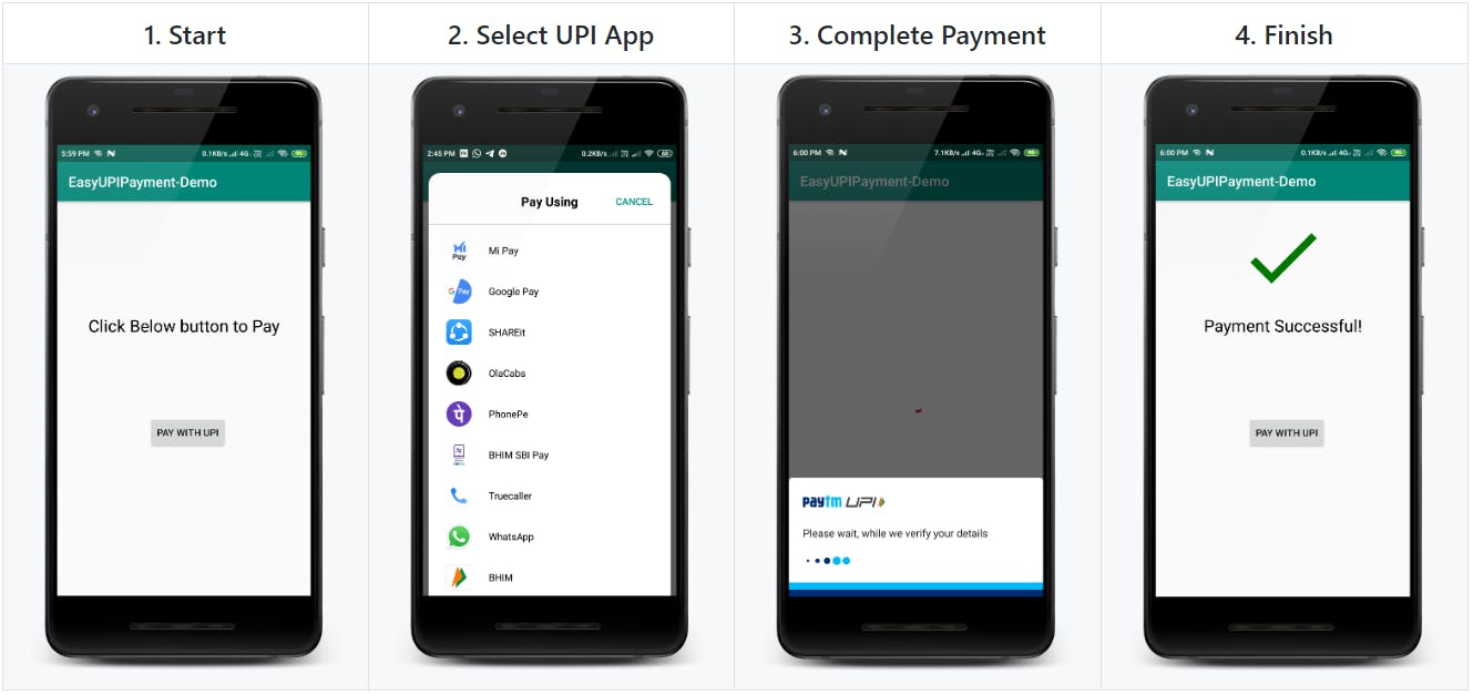 Demo of EasyUpiPayment Android Library