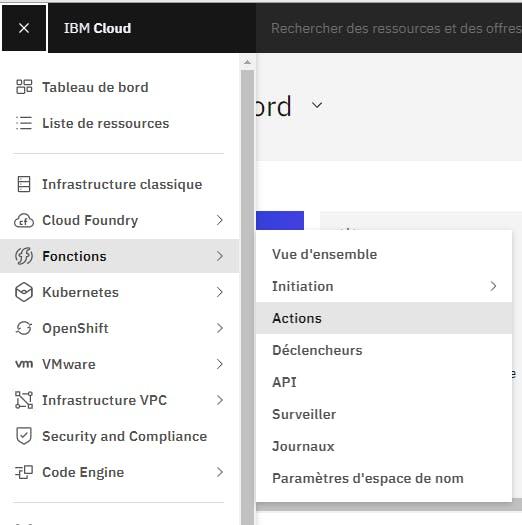 Open Actions dashboard IBM Cloud