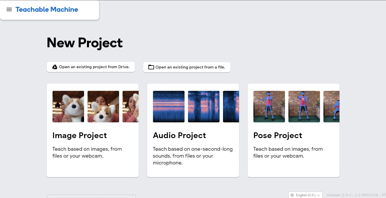 Teachable Machine Learning projects; image, audio, and pose projects.