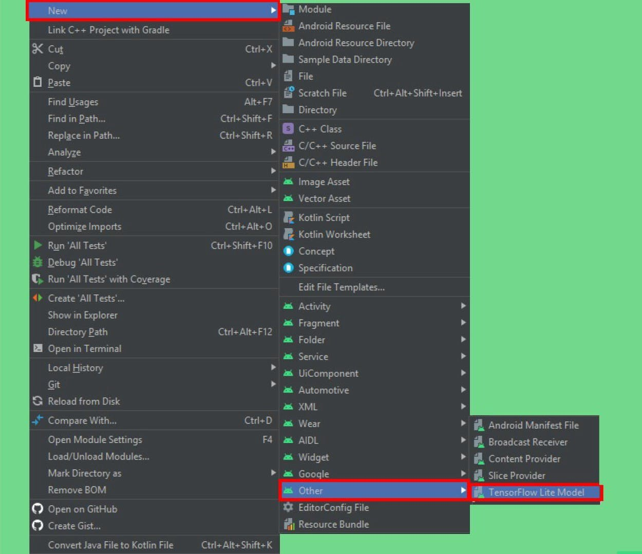 The import model option in Android Studio
