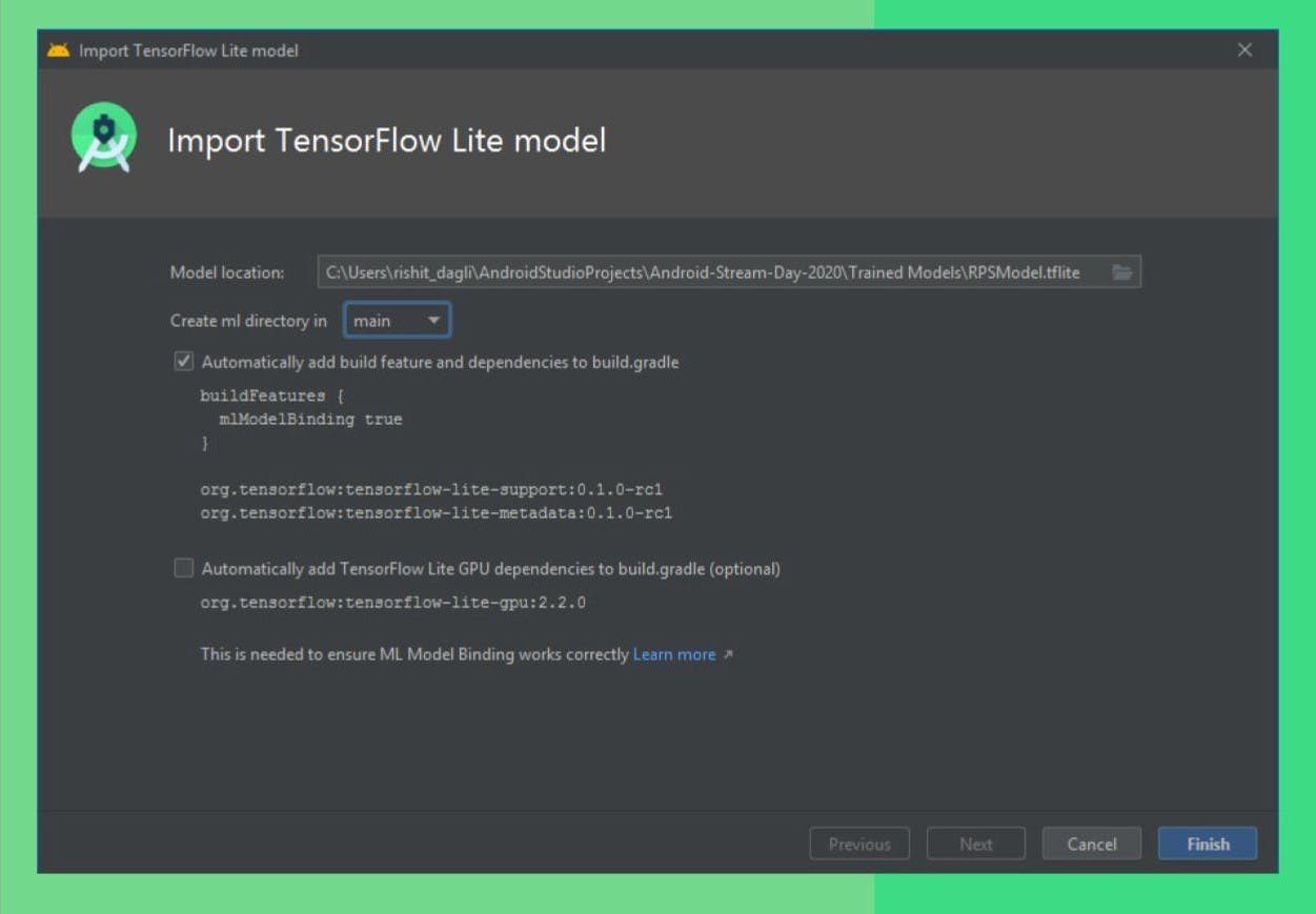 Importing a `tflite` model