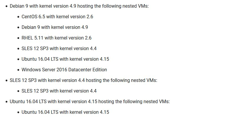 OSes which allow nested VM