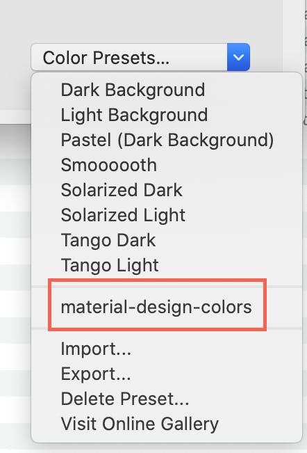 Color theme list
