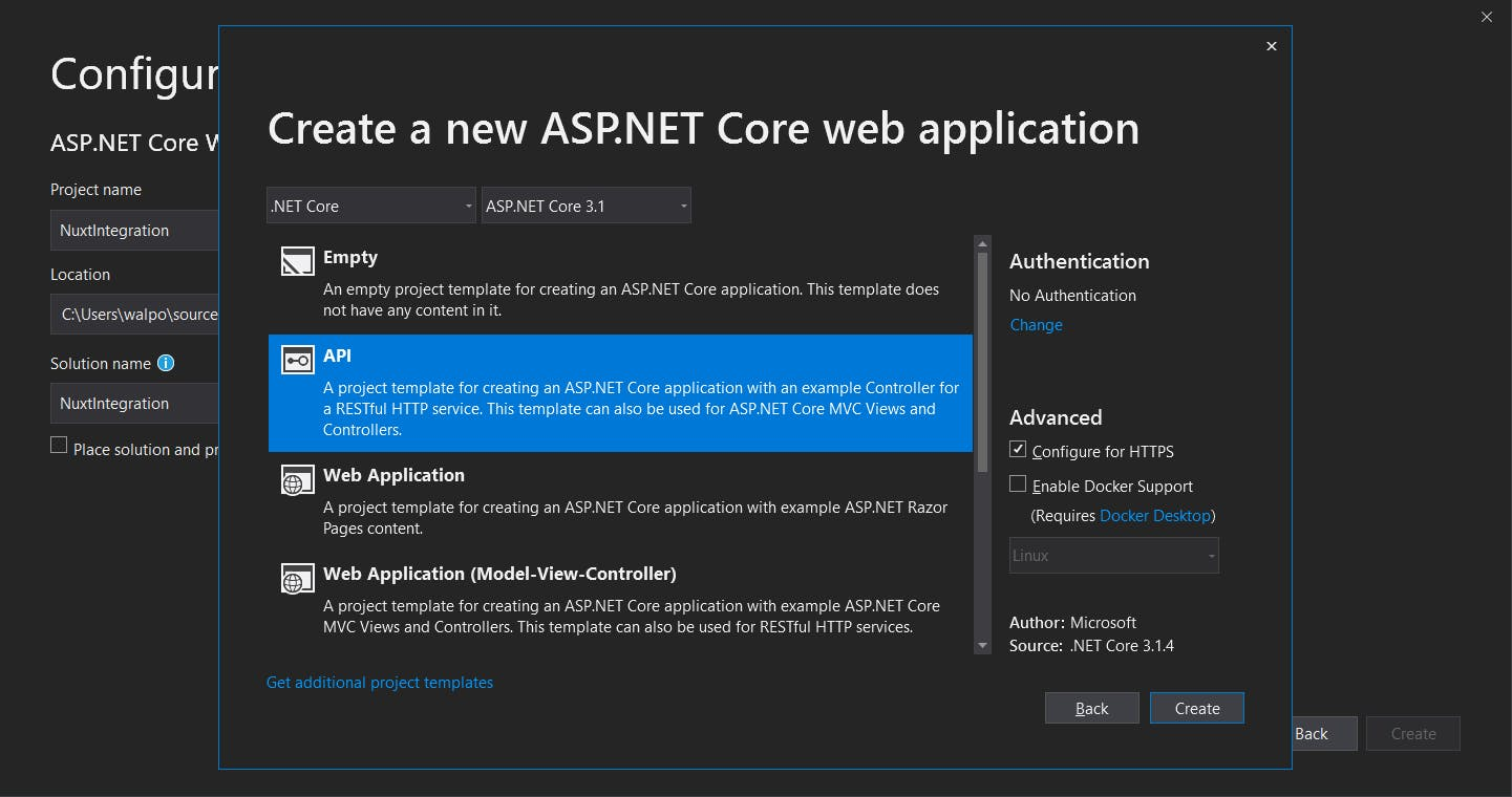 Create Web API project