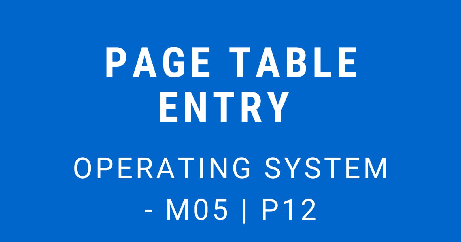 Page Table Entry   Operating System - M05 P12