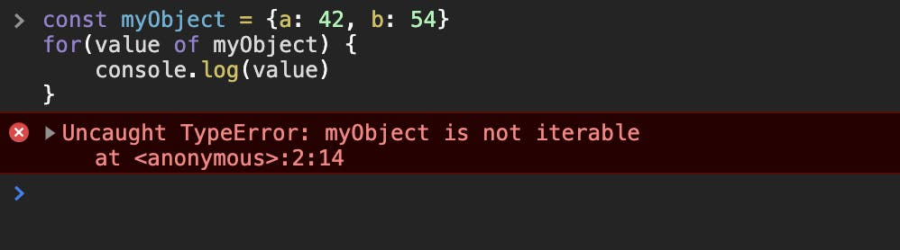 It throws an error that the object is not iterable