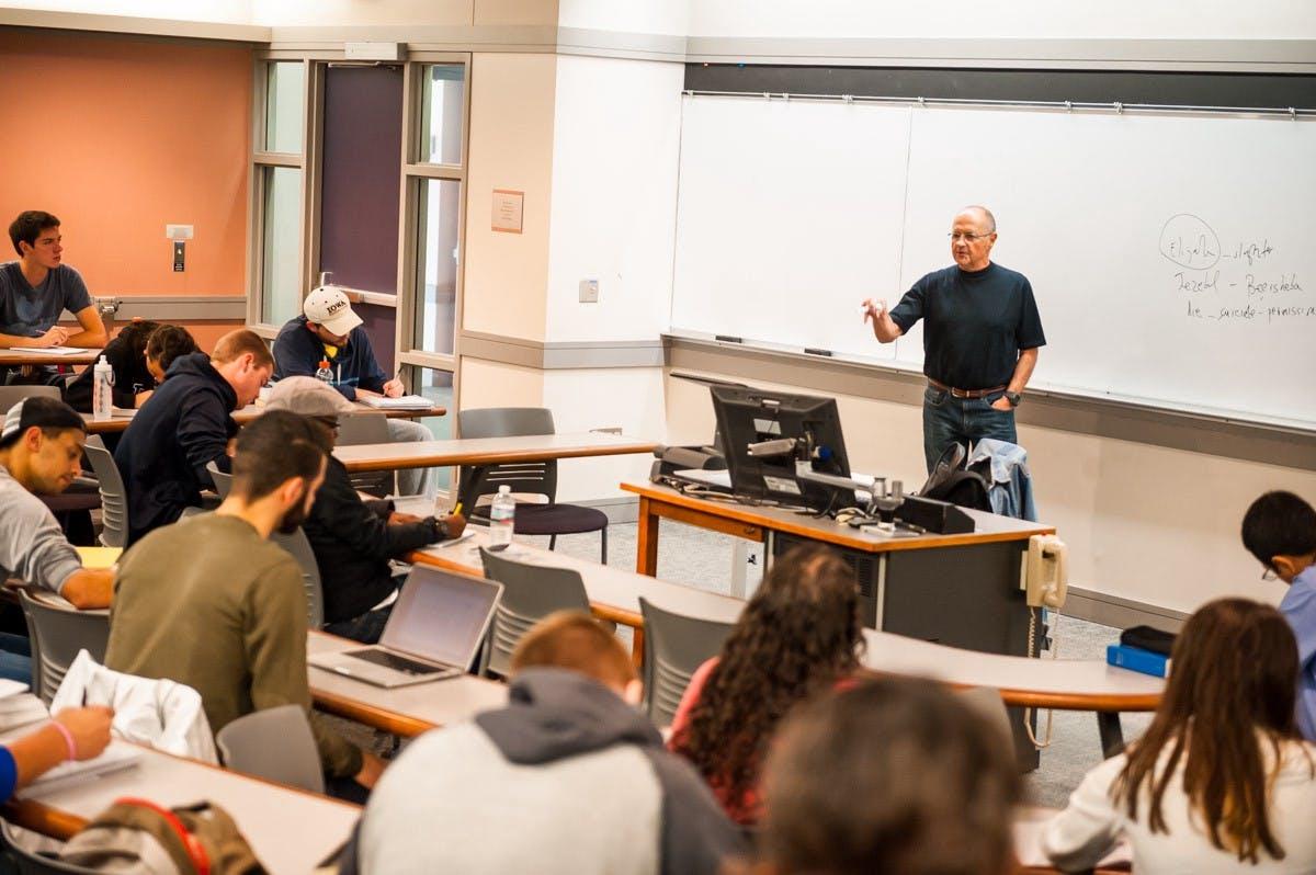 Professor A teaching a class