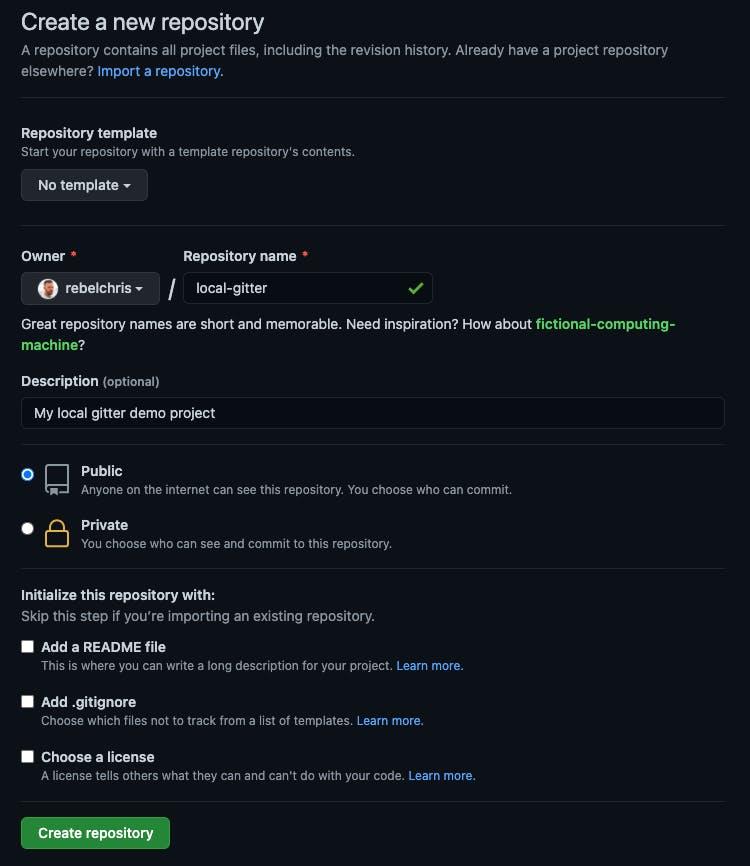 GitHub new repo settings