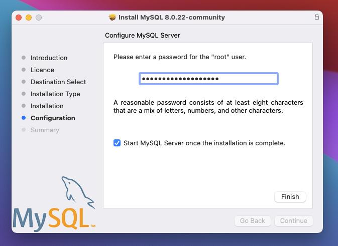 MySQL set password