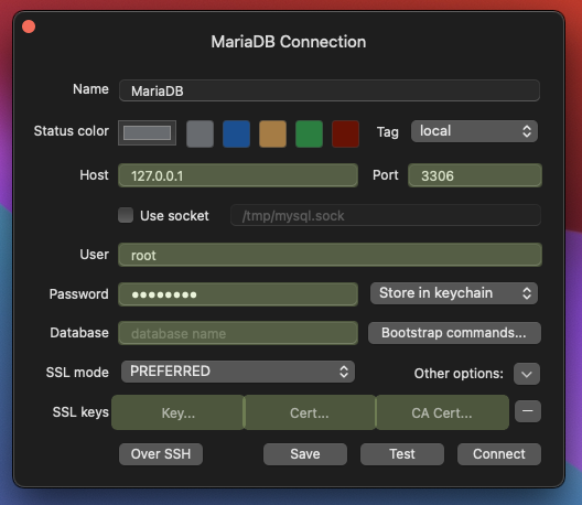 MariaDB TablePlus connection