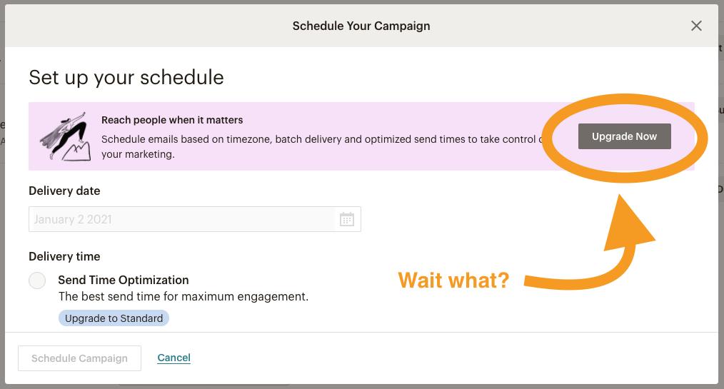 Mailchimp schedule mail