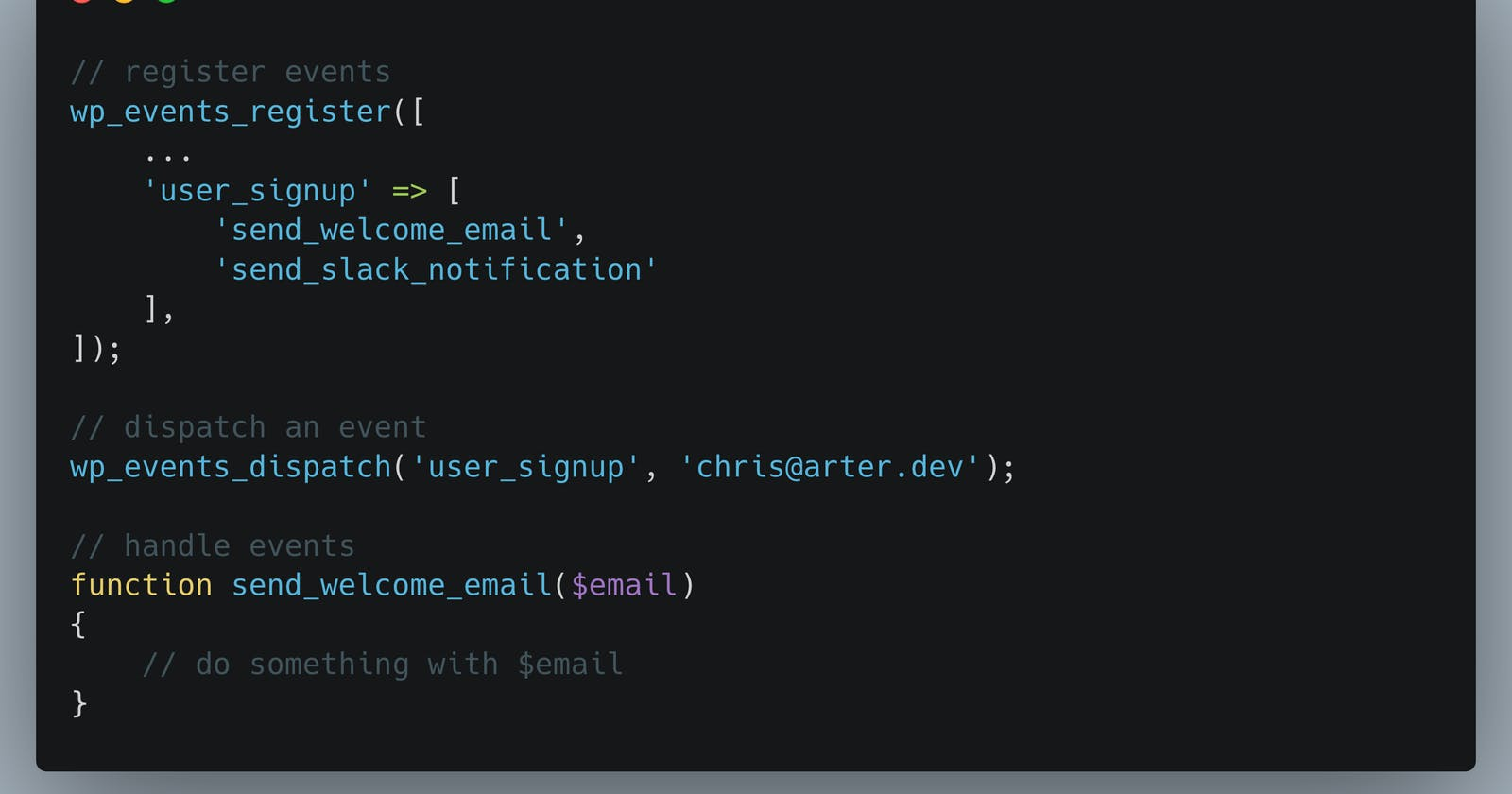 Introducing WP Events, a simple event listener pattern for WordPress