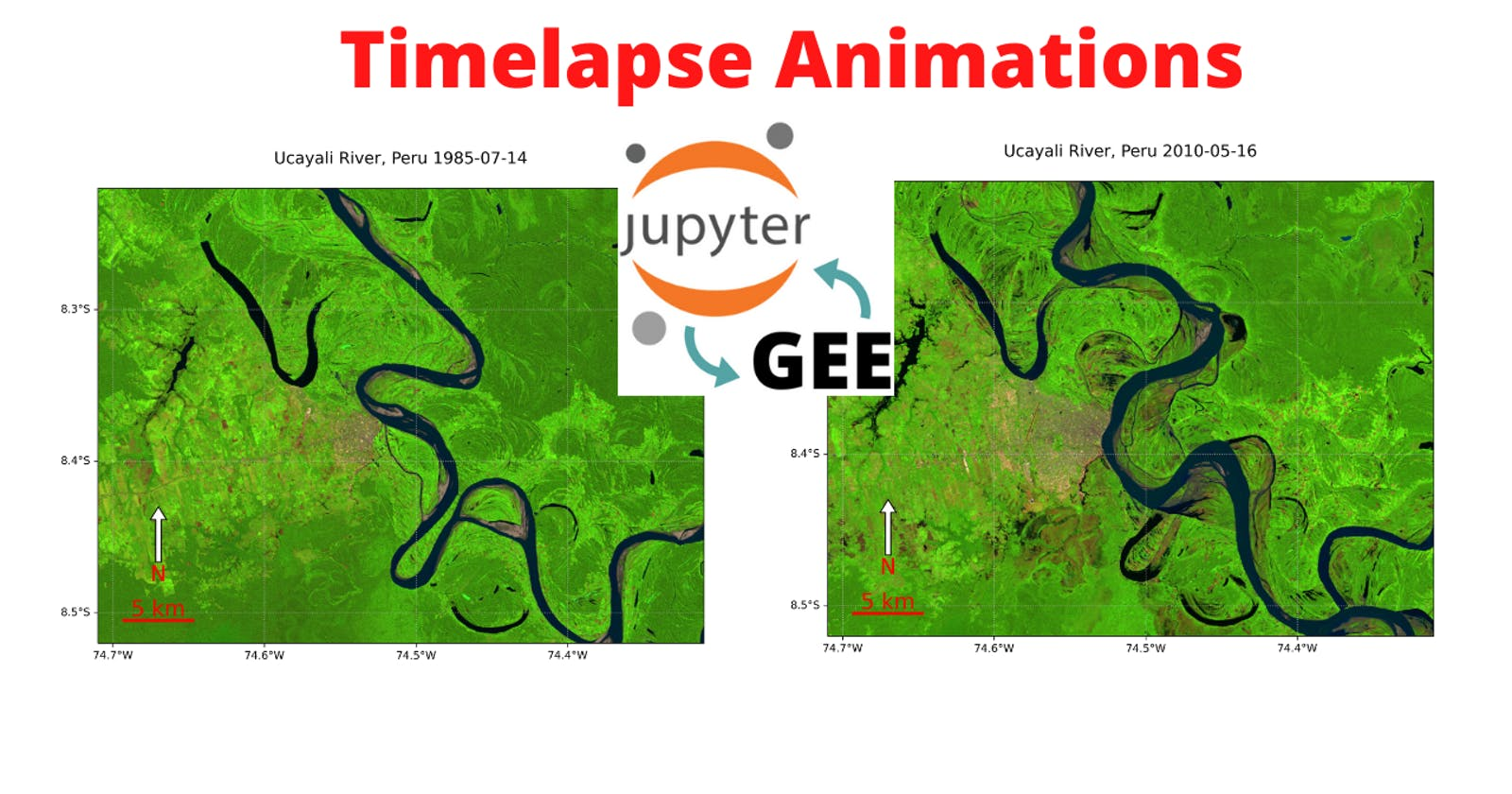 GEE Tutorial #52 - How to create timelapse animations with custom projection, scale bar, and north arrow