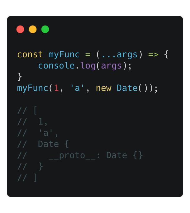 Accepting unlimited arguments using the spread in a function