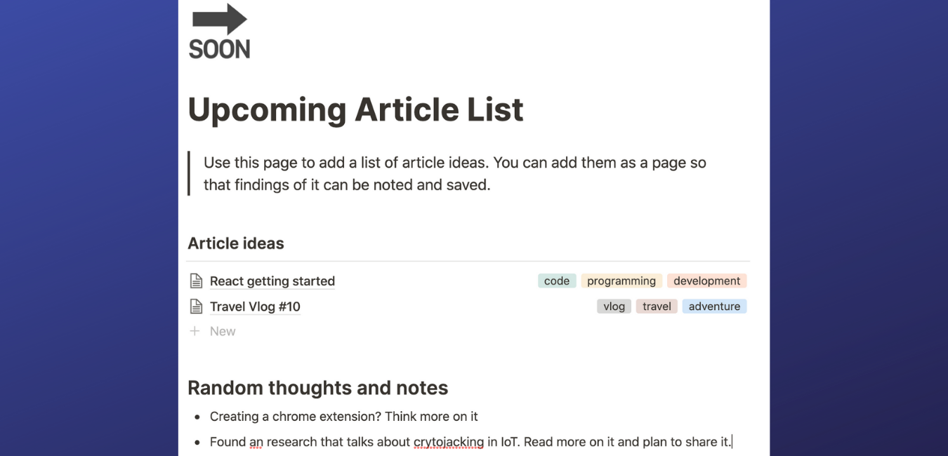 Notion article planner upcoming articles page screenshot.png