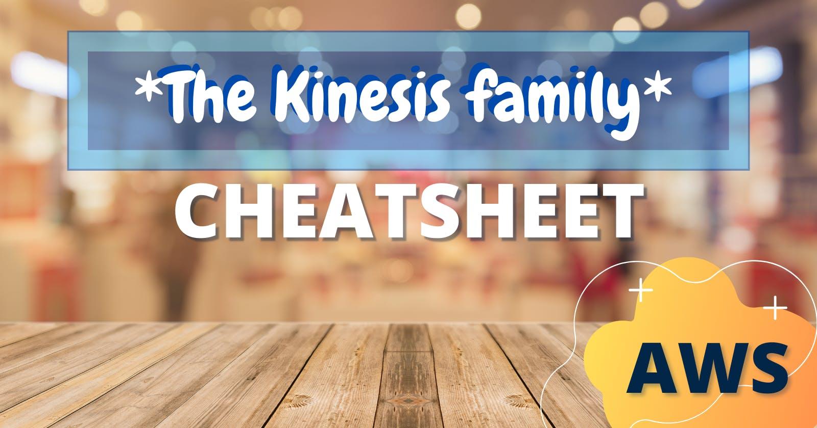 The Kinesis family Cheat Sheet