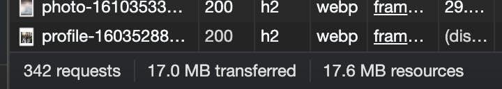 Screenshot displaying more than 15MB download on Unsplash