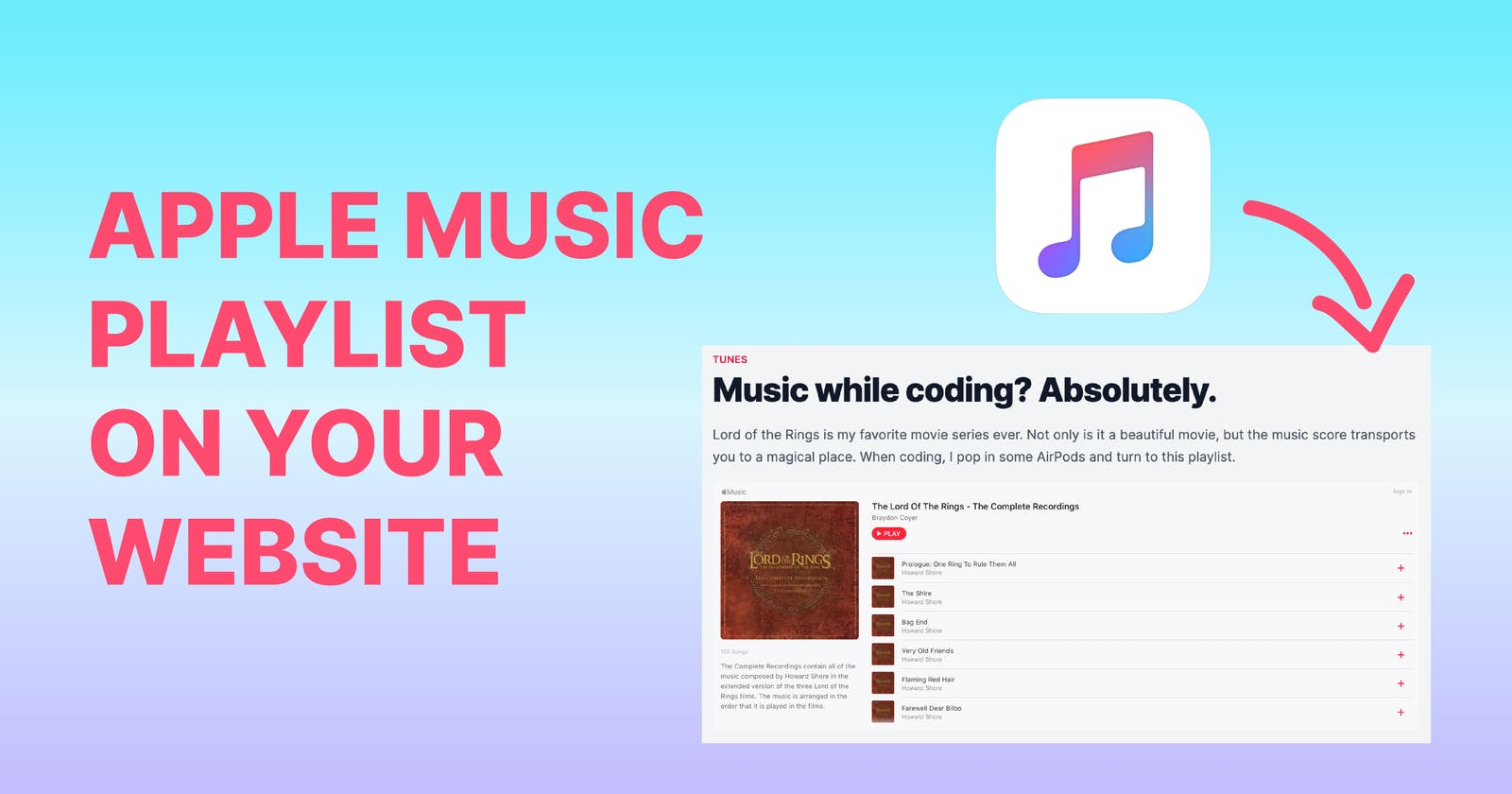 Display an Apple Music Playlist on Your Website