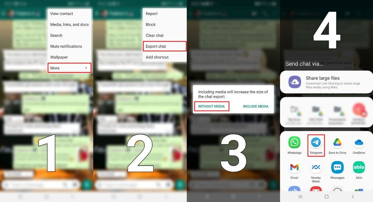 Steps to export WhatsApp chat