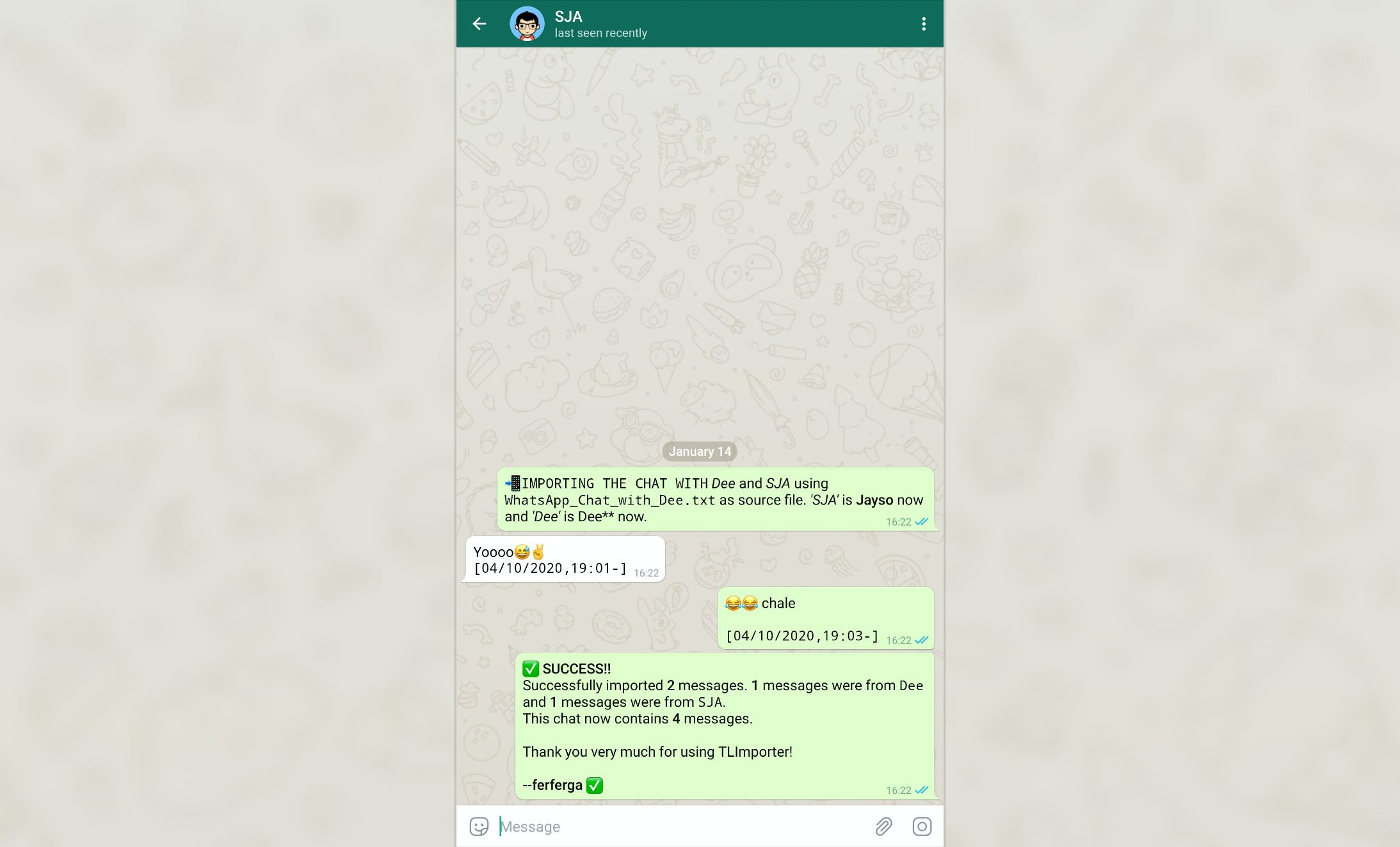 Screenshot showing chat imported from WhatsApp